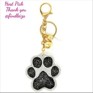 Accessories - NEW Black and Silver Puffy Paw Purse Charm